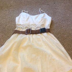 white mini dress with belt